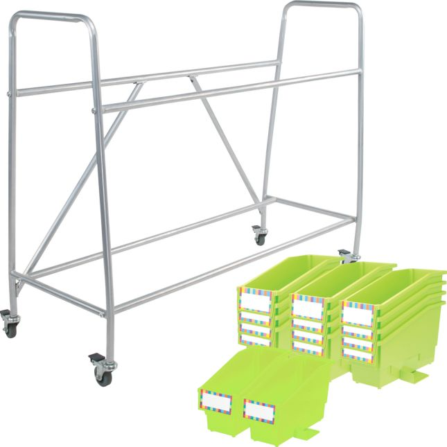 Really Good Classroom Library Rack With Book And Binder Bins - 1 rack, 14 bins