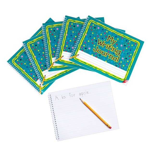Spiral Landscape Writing Journals, Teal Star Cover - 6 Pack