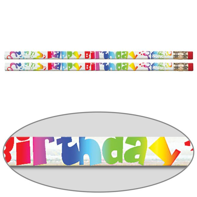 Happy Birthday Fiesta Pencils - 12 pencils