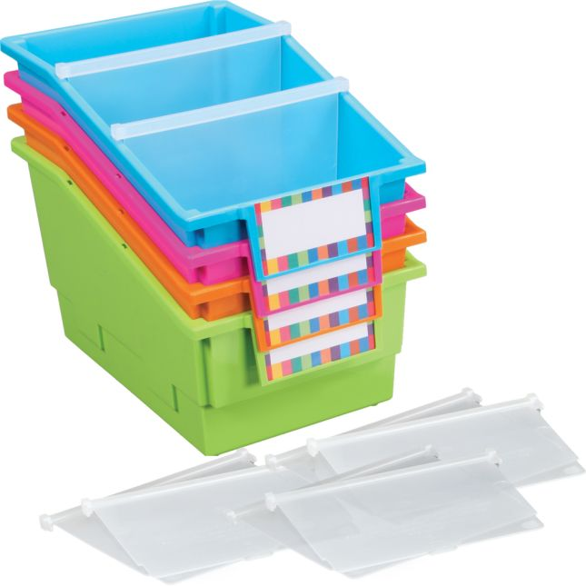 Chapter Book Library Bins™ With Dividers - Neon - 4 bins with dividers