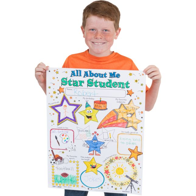 photograph relating to Free Printable All About Me Poster titled Prepared-Towards-Decorate® All More than Me Star University student Posters