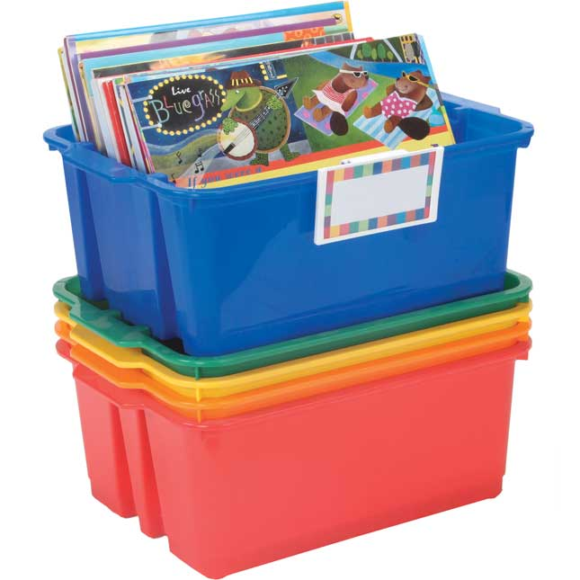 Classroom Stacking Bins With Universal Label Holders - 5-Pack, Primary