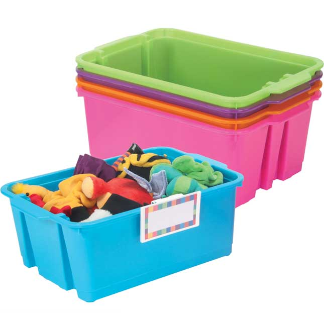 Classroom Stacking Bins With Universal Label Holders - 5-Pack, Neon