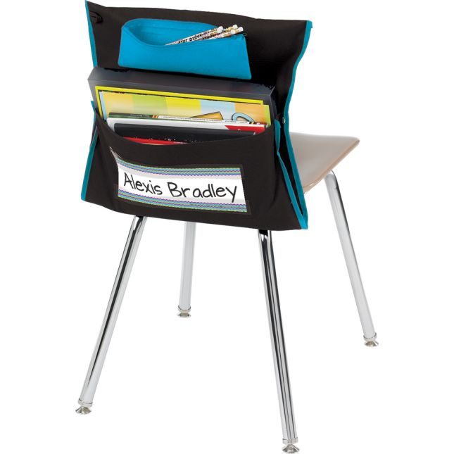 Deluxe Chair Pockets with Pencil Case – 36 Pack – Black/Turquoise
