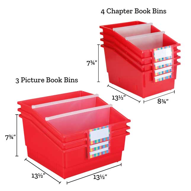 Really Good Classroom Library Rack With Chapter And Picture Book Bins™ With Dividers - 1 rack, 7 bins