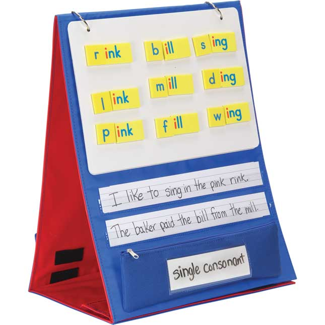 Desktop Stand With Flip Magnetic Boards And Storage Pockets