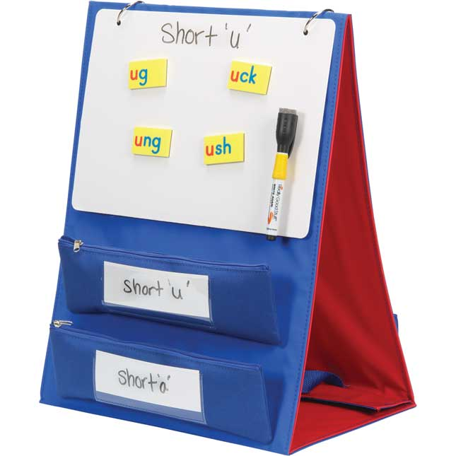 Desktop Stand With Flip Magnetic Boards And Storage Pockets - 1 stand, 3 boards