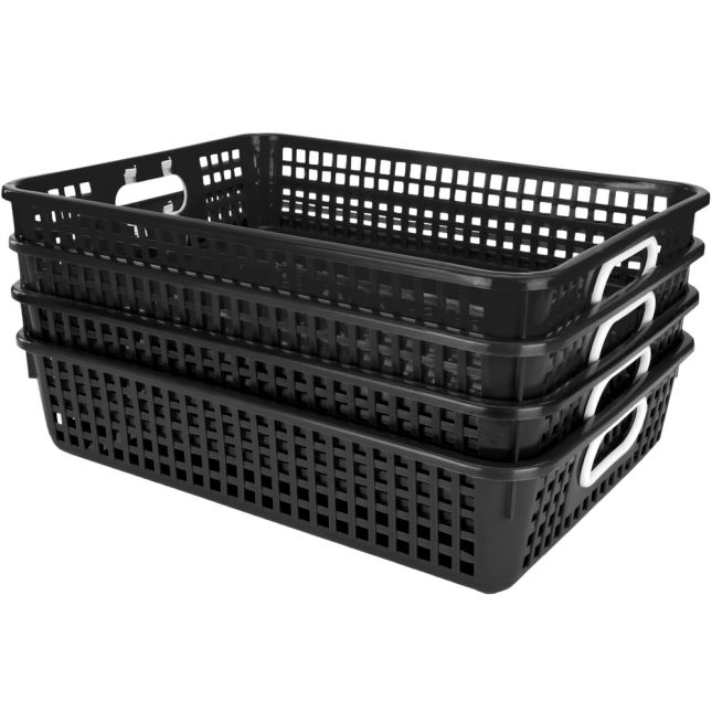 Classroom Paper Baskets - Black - 4 baskets