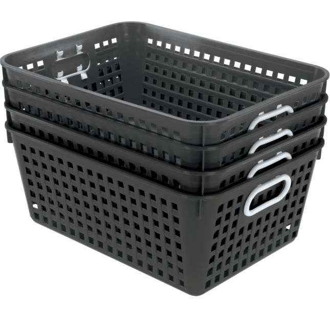 Book Baskets, Large Rectangle - Black