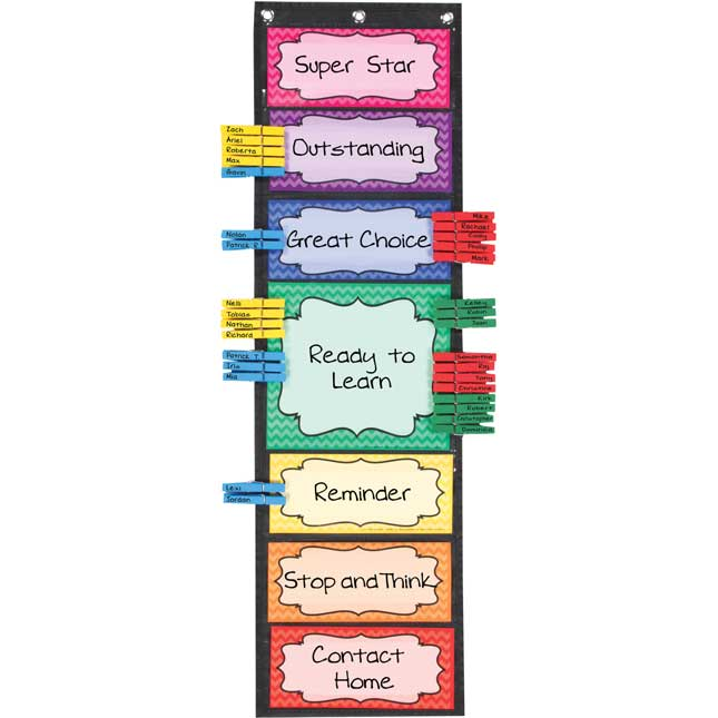 Classroom Behavior EZ-Tuck Clip 'N' Track Pocket Chart® - 1 pocket chart kit