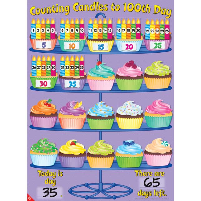 Counting Candles To 100th Day Poster And Magnets Kit