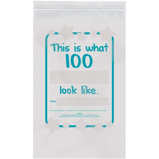 What Does 100 Look Like? Banner And Plastic Bags Kit - 1 banner, 32 bags
