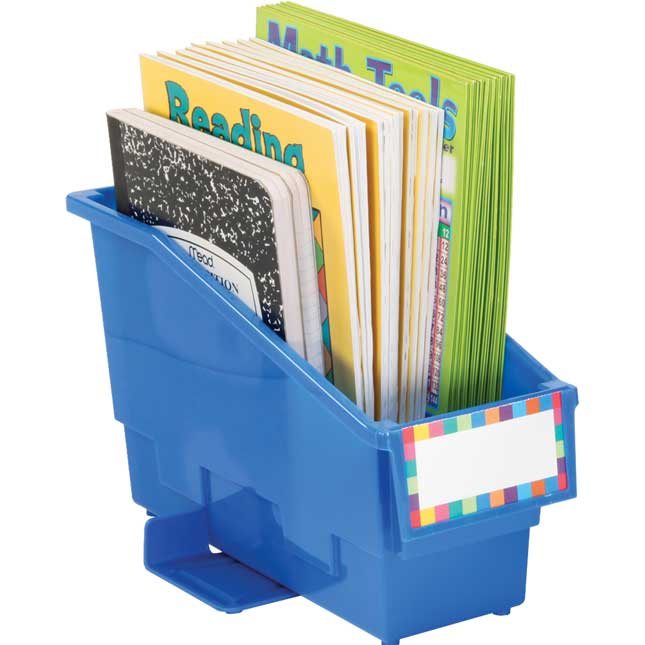 Group Colors For 6 - Durable Book And Binder Holders With Wings - 6 bins
