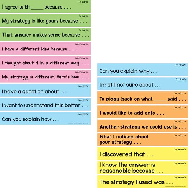 Math Talk Sentence Stems Display