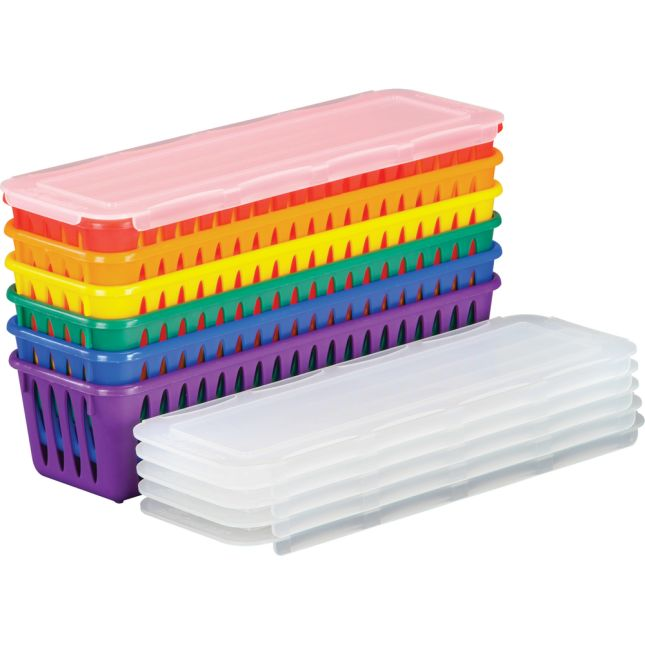"Plastic Pencil and Marker Storage Baskets with Lids, 3¼"" by 10"" by 2½"" Set of 6 – Fun Rainbow Colors with Sliding Lids – Store Pencils and Markers Securely for 6 Groups or Students"