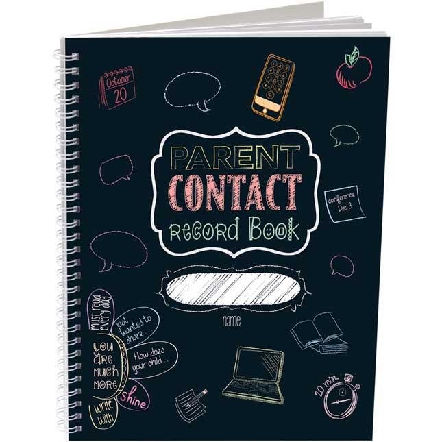 Parent Contact Record Book - Chalkboard Style