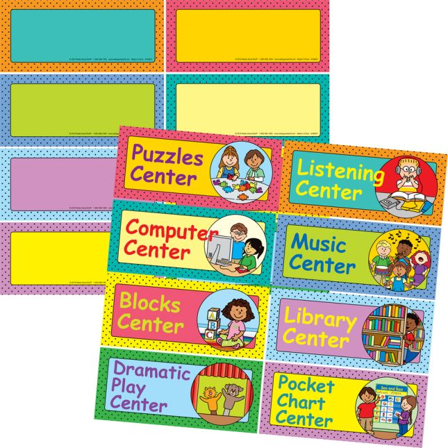Early Elementary Centers EZ-Tuck Clip 'N' Track Pocket Chart™ With Center Labels - 1 pocket chart kit