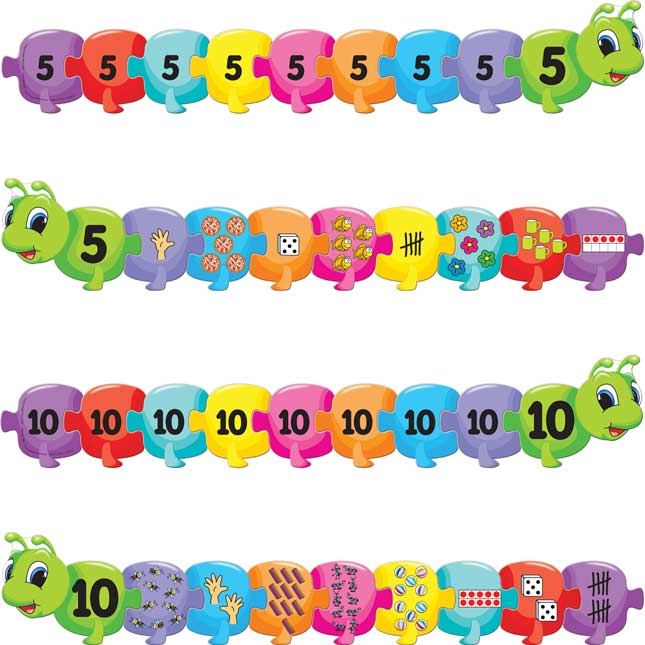 Caterpillar Puzzles Set - Counting How Many Through 10