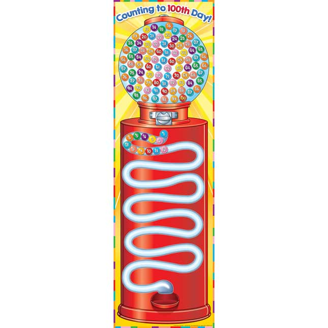Counting To 100th Day Gumball Banner And Magnets Kit