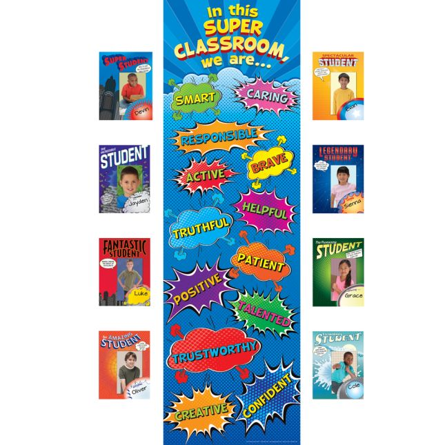 In This SUPER Classroom Bulletin Board Kit - 1 banner, 32 frames