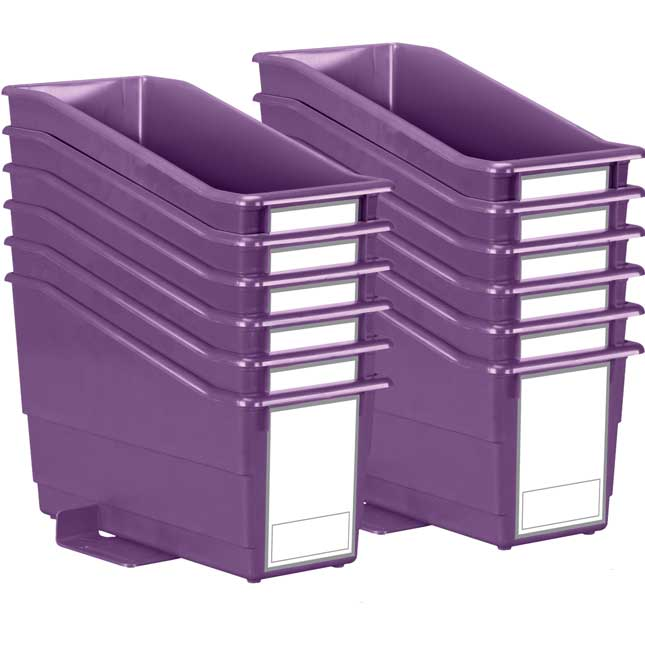 Durable Book and Binder Holders With Stabilizer Wings And Large Labels - 12-Pack