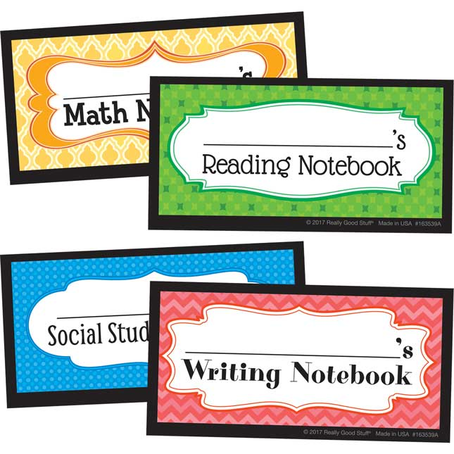 Self-Adhesive Student Notebook Labels
