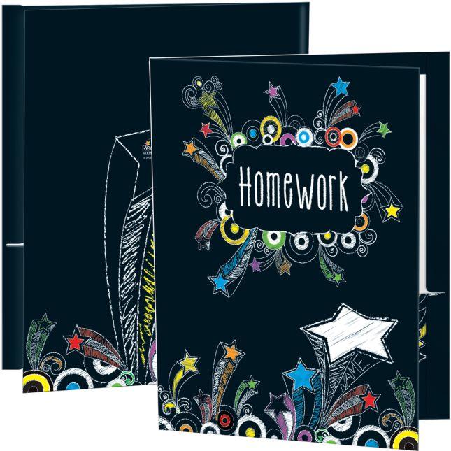 Chalkboard-Style Shooting-Stars Homework Folders - 12 folders