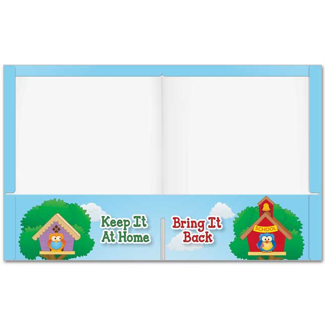 Early Learning Owl Homework Folders with Resource Info - 2 Pocket - 12 Pack