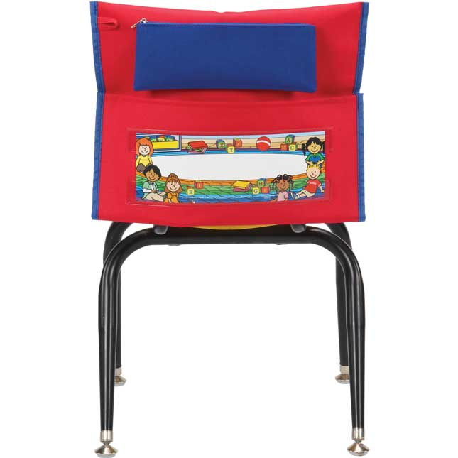 Early Childhood Deluxe Chair Pockets with Pencil Case - 6 Pack - Red/ Blue