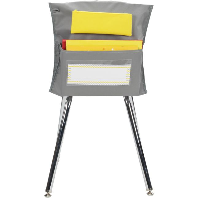 Deluxe Chair Pockets with Pencil Case - 6 Pack - Gray/ Yellow
