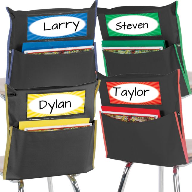 Grouping Chair Pockets - 48 Pack - 4 Group Colors - Black