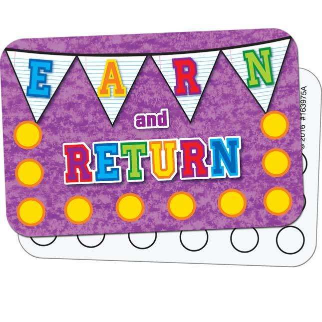 School Days Pennants ™ Earn - And - Return Cards