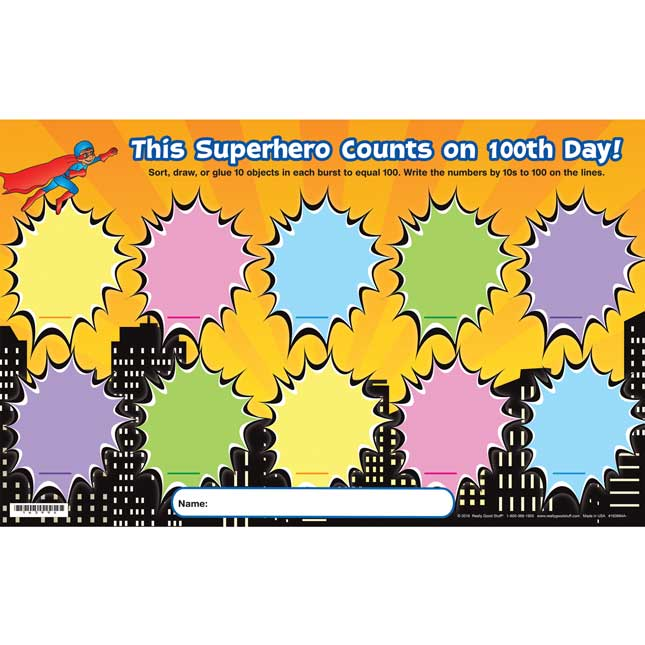This Superhero Counts On 100th Day! Activity Mats