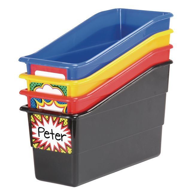 Durable Book And Binder Holders - Super Brights With Superhero Name Labels