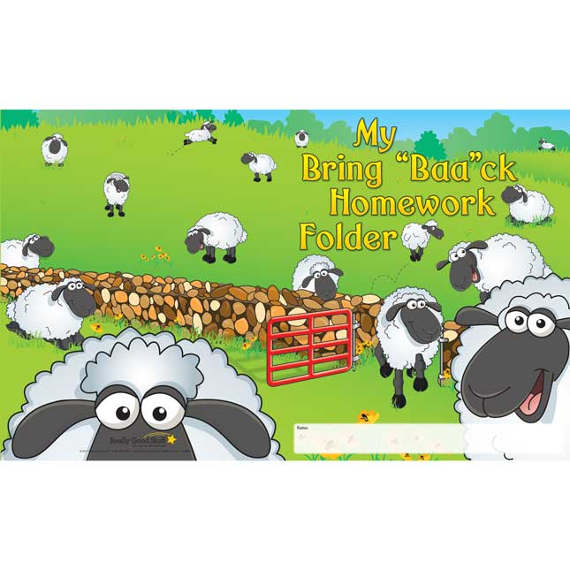 "My Bring ""Baa""ck Homework Folders - 2 Pocket - 12 Pack"