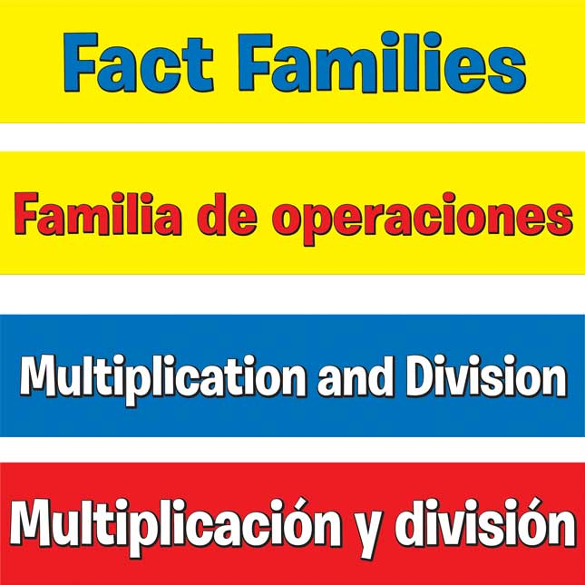 Multiplication And Division Fact Families Pocket Chart™ - English/ Spanish - 1 pocket chart kit