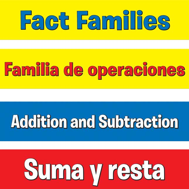 Addition And Subtraction Fact Families Pocket Chart™ - English/ Spanish - 1 pocket chart kit