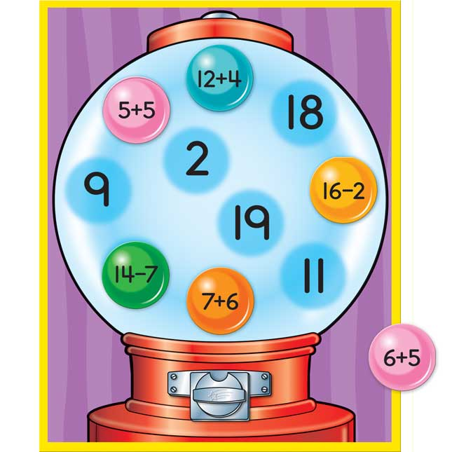 Addition And Subtraction Through 20 Gumball Facts Game
