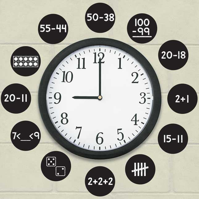 EZ Stick™ Math Problems Clock Numbers - Primary