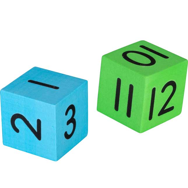 1-12 Foam Dice Pairs Set