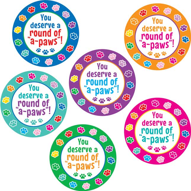 "A Round Of ""A-Paws""! Paw-Print Jumbo Stickers"