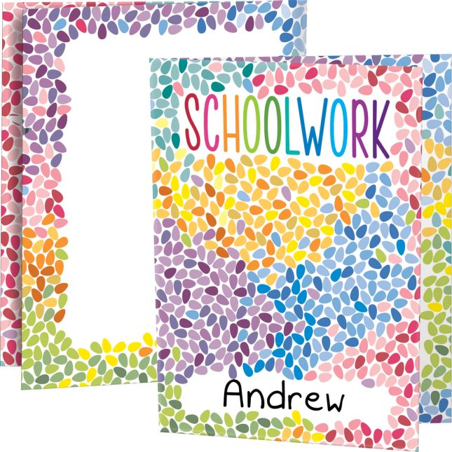 Colorful Drops Schoolwork Folders - 3 Pocket - 12 Pack