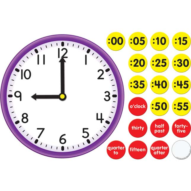 Magnetic Clock Face with Movable Hands Magnets Set