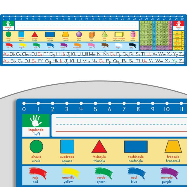 Spanish/English 120 Grid With Number Line Self-Adhesive Deluxe Plastic Desktop Helpers™ - 24 helpers