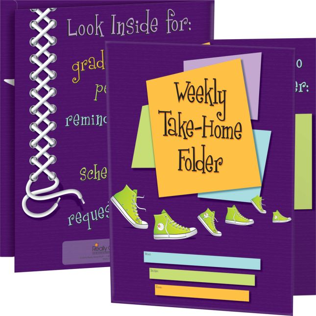 Weekly Take-Home Tri-Fold 3-Pocket Folders - 12 folders
