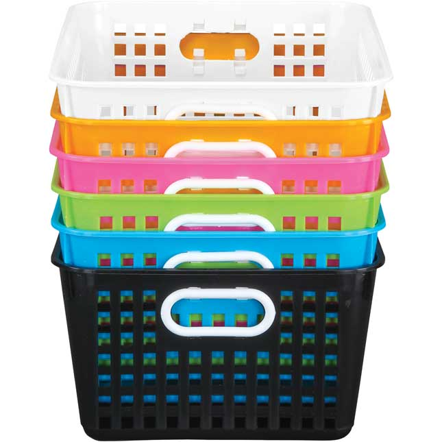 Neon Pop 6-Pack Book Baskets, Large