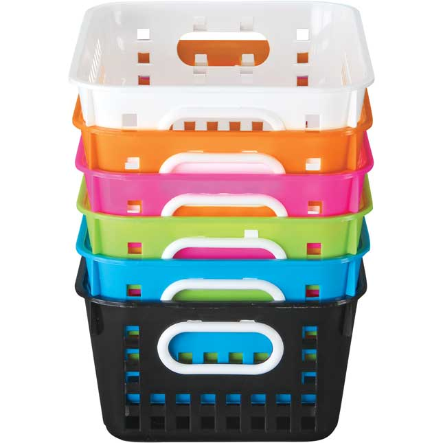 Neon Pop 6-Pack Medium Book Baskets