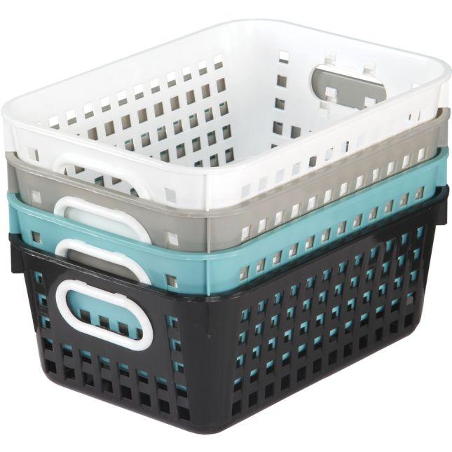 Medium Rectangle Book Baskets - Neutral Colors - 4 baskets