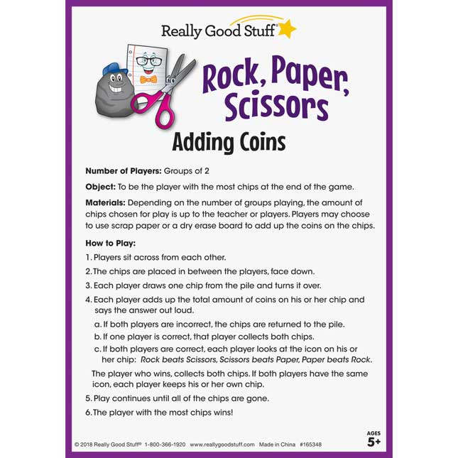 Rock, Paper, Scissors Math Game - Adding Coins - 1 game