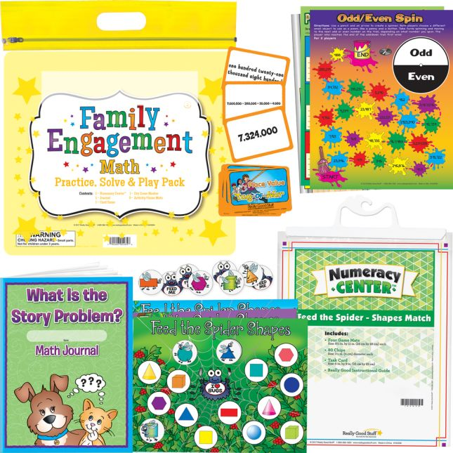 Family Engagement Math - Practice, Solve and Play Pack - Second Grade